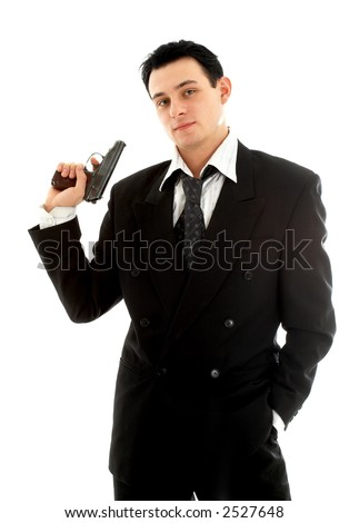 man with a gun over white background