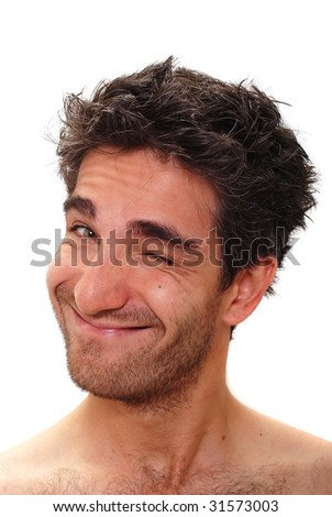 Man with a happy facial expression - stock photo
