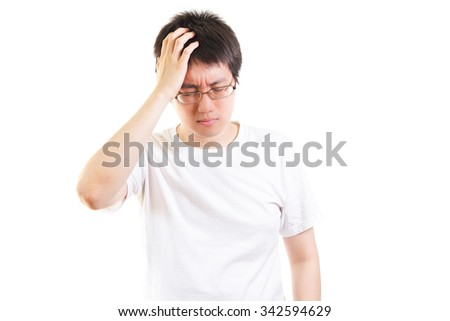 man with a headache isolated on white background