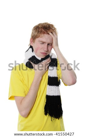 Man with a headache, suffering from flu, A(H1N1), on the white background