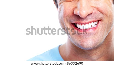 Man with a healty smile. Isolated over white background. - stock photo