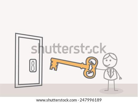 Man with a Key Door - stock photo