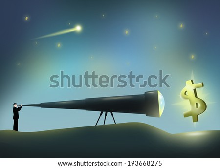 Man with a Long Telescope viewing Dollar Sign. Conceptual Illustration. - stock photo