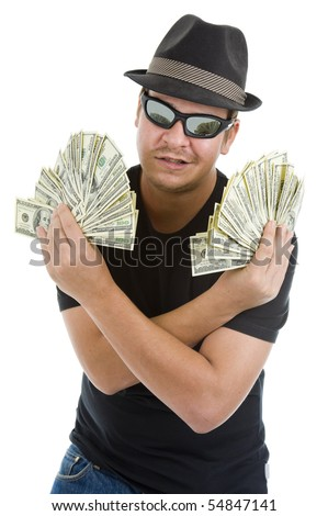 man with a lot of 100 dollar bills, isolated on white background - stock photo
