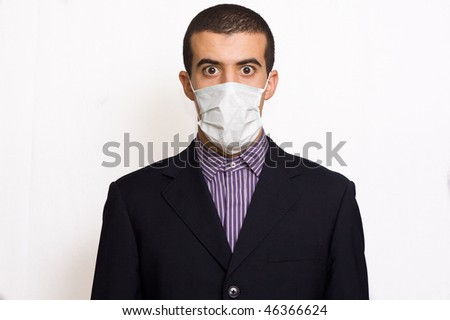man with a mask on the mouth