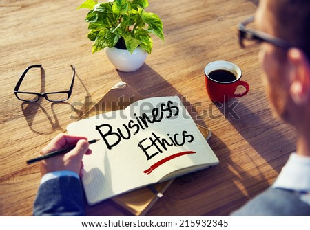 Man with a Note and Business Ethics Concept - stock photo