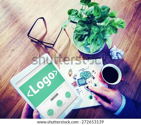 Man with a Note and Marketing Logo Concept - stock photo