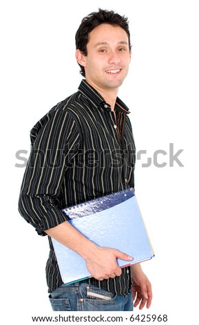man with a notebook - university student look isolated over a white background