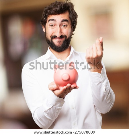 man with a piggy bank - stock photo