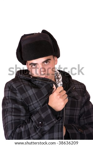 man with a russian hat on white background