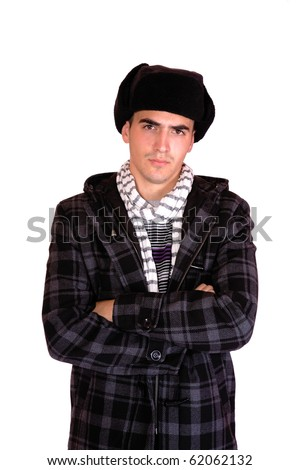 man with a russian hat on white background - stock photo