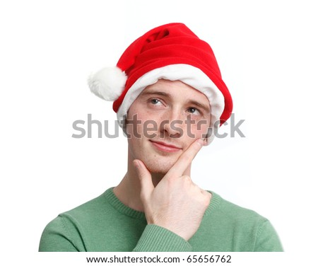 Man with a santa hat