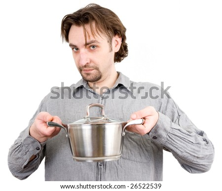 man with a saucepan