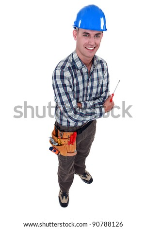 Man with a screwdriver - stock photo