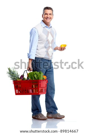 Man with a shopping basket. Grocery. Isolated over white background.