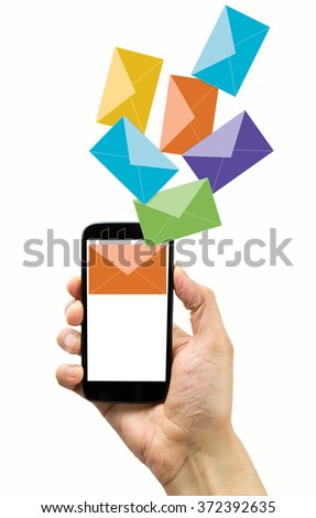 man with a smart phone that sends email spam concept with white background - stock photo