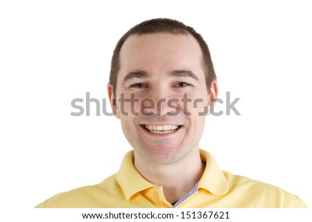 man with a smile on his face on a white background