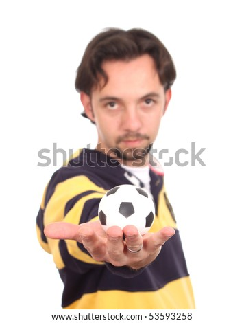 Man with a soccer Ball Balanced on Mans Pointed Finger isolated over white