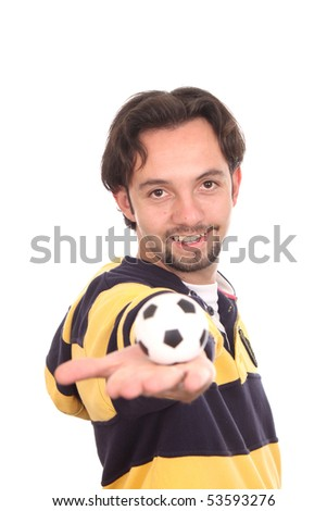 Man with a soccer Ball Balanced on Mans Pointed Finger isolated over white - stock photo