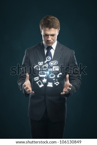 man with a social media icon on his hands - stock photo