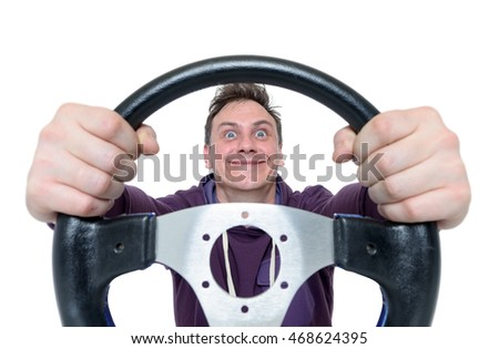 Man with a steering wheel, front view. Isolated on white background. Driver car concept