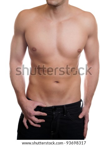 Man with a toned muscular body - stock photo