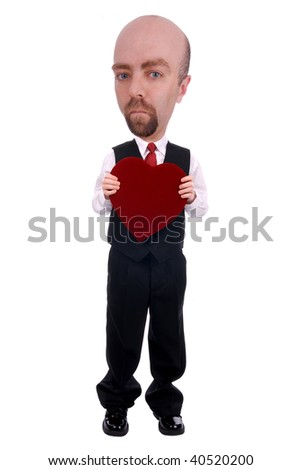 Man with a valentine box of chocolate over a white background - stock photo