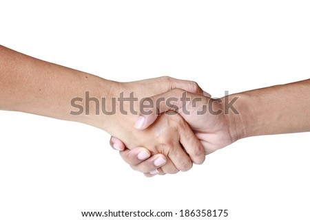 man with a woman and shaking hands - stock photo