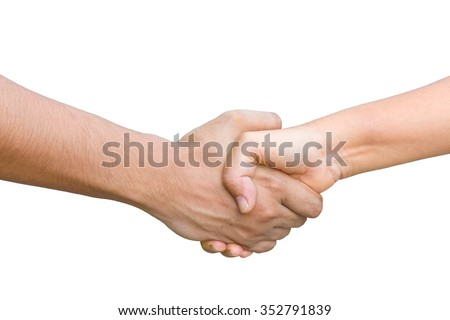 man with a woman and shaking hands isolated on white background. This has clipping path.