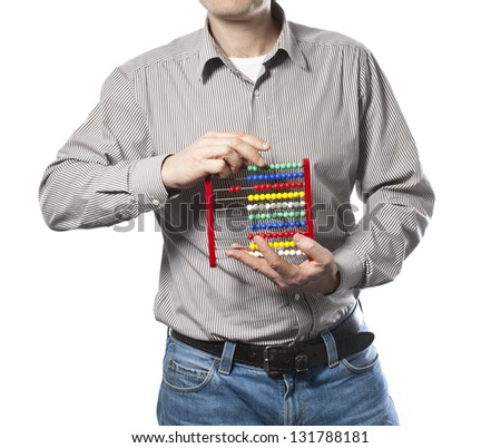man with abacus in the hands - stock photo