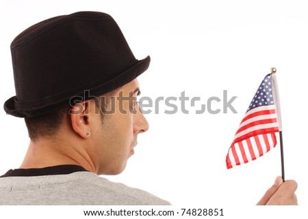 man with american flag close up - stock photo