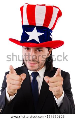 Man with american flag isolated on white - stock photo