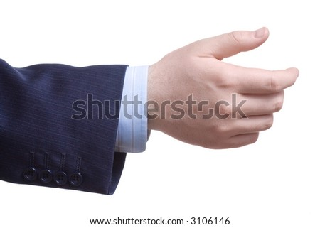 Man with an empty hand asking for help against white background