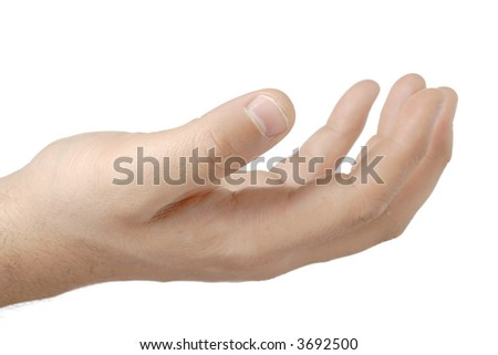 Man with an empty hand asking for help against white background - stock photo