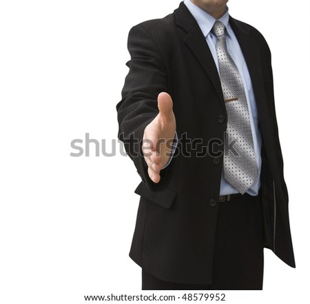 man with an open hand ready to seal a deal