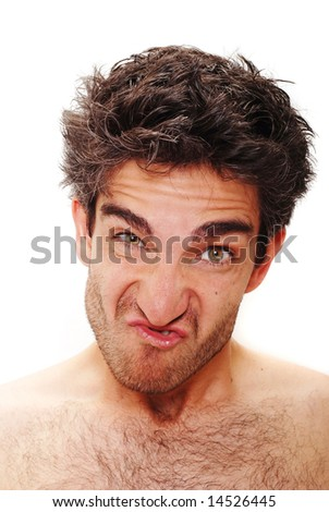 Man with angry facial expression - stock photo