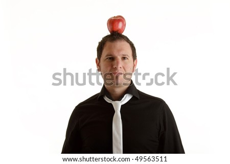 Man with apple on head isolated