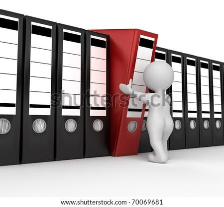 Man with archive from folders - stock photo