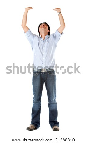 Man with arms up holding an imaginary object - isolated over white