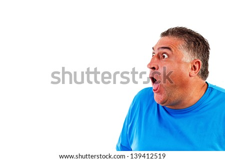 Man with astonished expression isolated on white background - stock photo