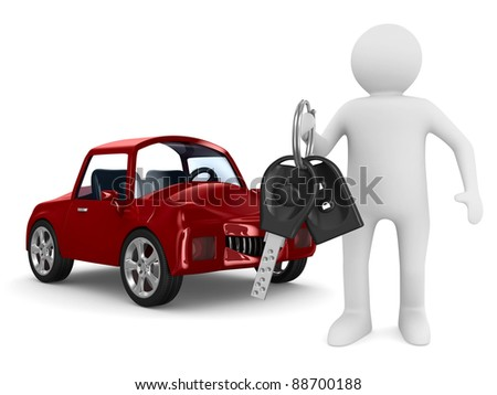 man with automobile keys. Isolated 3D image - stock photo
