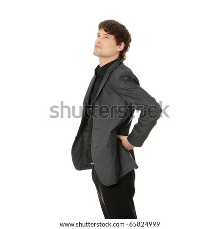 Man with back pain isolated on white - stock photo