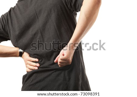 Man with back pain isolated on white background - stock photo