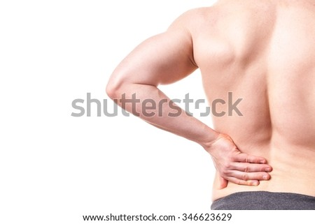 Man with back pain - isolated, white background - stock photo