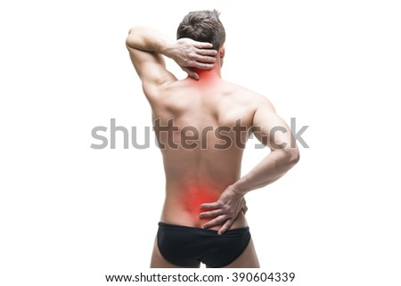 Man with backache. Pain in the neck. Muscular male body. Isolated on white background with red dot - stock photo
