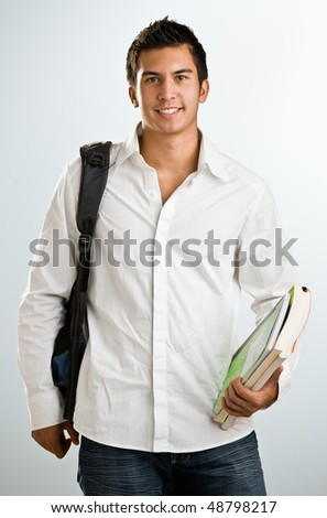 Man with backpack and schoolbooks - stock photo
