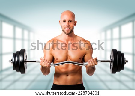 man with barbell - stock photo