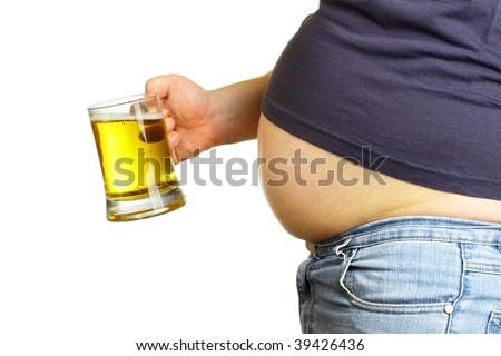 Man with beer mug isolated over white baclground - stock photo