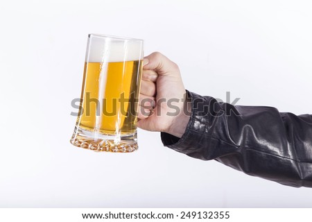 man with beer on white background - stock photo