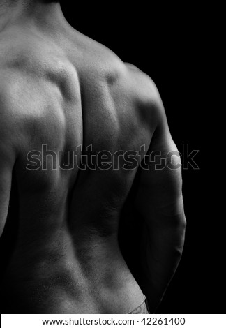 Man with big muscular back in black and white style - stock photo